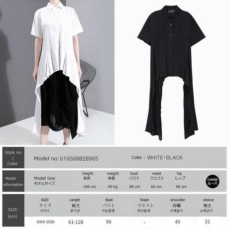 アシンメトリー シャツ 折り襟 半袖 大きいサイズ 韓国ファッション レディース トップス 不規則デザイン 大人カジュアル 大人可愛い ガーリー 619368828965