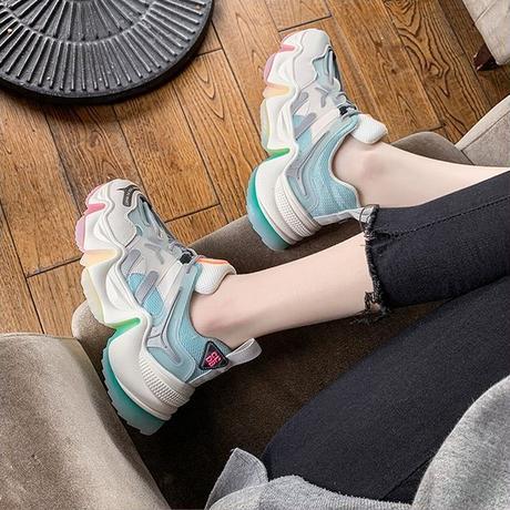 ダッドスニーカー メッシュ 厚底 5cm レインボーソール 韓国ファッション スニーカー 通気性 ダッドシューズ ボリュームスニーカー 厚底スニーカー スポーツ 616271490746