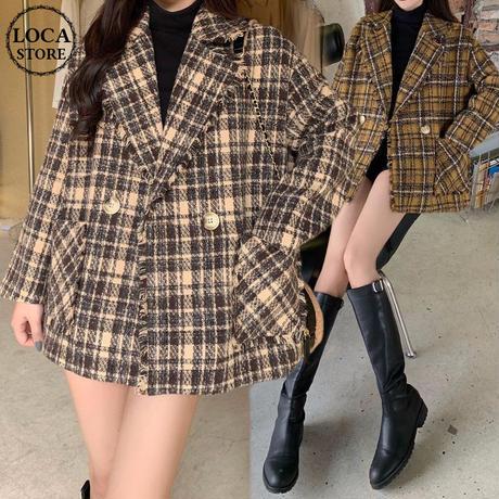 チェック柄 ショートコート ウール 韓国ファッション レディース コート ウールコート チェスターコート ショート丈 DTC-607829907359