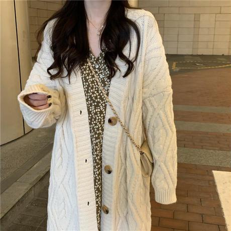 ロングカーディガン ケーブル編み ニット ツイストニット カーディガン ルーズ 長袖 大人可愛い ガーリーDTC-651811052937