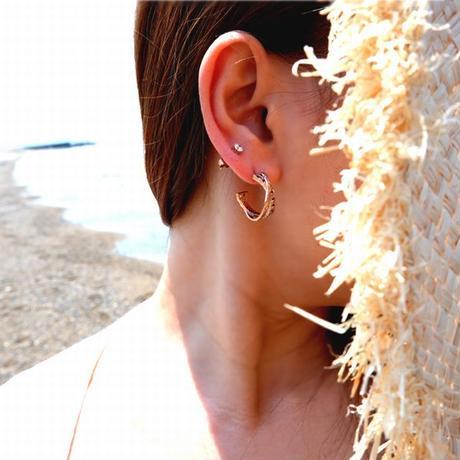 ハワイアンジュエリー ピアス 片耳用 チェーン メンズ レディース ペア サージカル ステンレス 金属アレルギー対応 スチールシルバー イエローゴールド ピンクゴールド インスタ ges8226