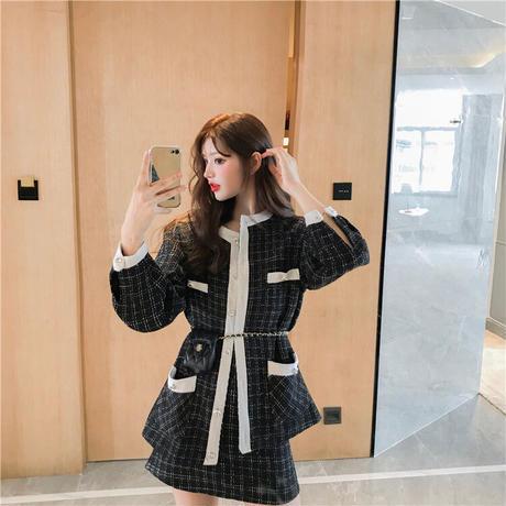セットアップ チェック柄 カーディガン ジャケット + スカート 上下セット 韓国ファッション レディース 大人可愛い かわいい ガーリー DTC-632531662841