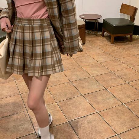 セットアップ チェック柄 ウールジャケット + プリーツスカート カーキ 韓国ファッション レディース 2点セット ジャケット ハイウエスト 大人可愛い DTC-634600741720_kh