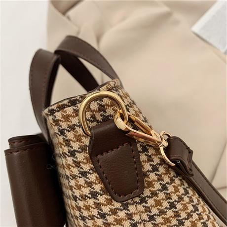 2WAY ハンドバッグ ショルダーバッグ ミニバッグ 千鳥格子 リボン チェック柄 バッグ 鞄 レトロ ホワイト ブラック ブラウン DTC-631010281178
