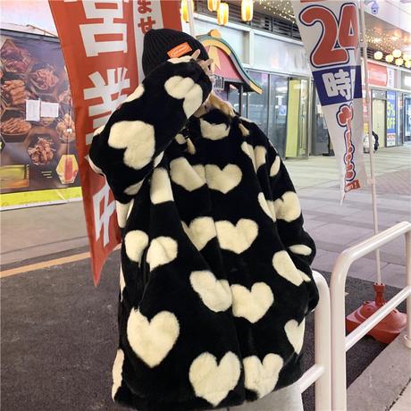 ユニセックス ハート柄 ボアジャケット ボアパーカー ファー ラムウール 韓国ファッション メンズ レディース 男女兼用 ゆったり アウター 大人可愛い DTC-634631995226
