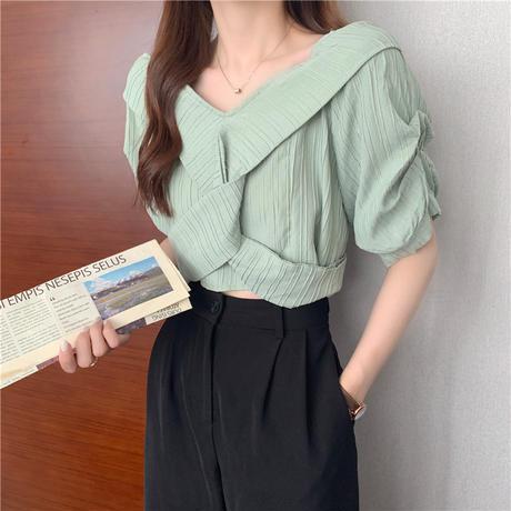 2way ブラウス Vネック オフショルダー 半袖 薄手 無地 韓国ファッション レディース トップス 大人可愛い ガーリー DTC-650101350711