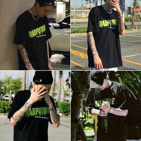 ユニセックス 半袖 Tシャツ メンズ レディース シンプル 英字 RADFUTURE プリント オーバーサイズ 大きいサイズ ルーズ ストリート TBN-591756712654