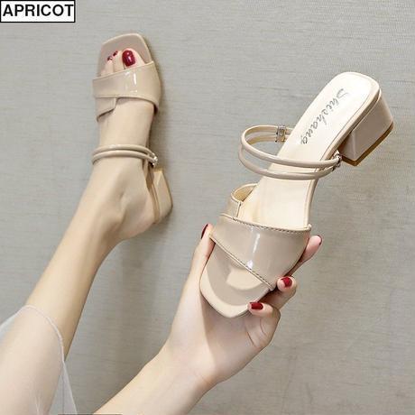 2WAY ストラップ サンダル チャンキーヒール 4cm スクエアトゥ 韓国ファッション レディース 痛くない かわいい 靴 歩きやすい 594723432026
