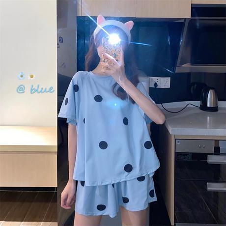 ルームウェア ドット柄 パジャマ セットアップ ウエストゴム 韓国ファッション レディース 上下セット 部屋着 大人可愛い ガーリー フェミニン DTC-640767040672