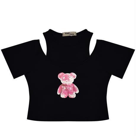 フェイクレイヤード Tシャツ タンクトップス クマ ベアー プリント クロップド丈 半袖 韓国ファッション レディース ドッキングトップ ショート丈 ガーリー DTC-642085941122