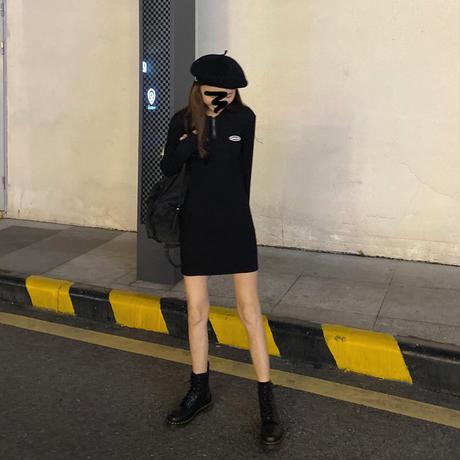 【ワンピース】 ハーフジップ ショート ブラック 長袖 韓国ファッション レディース ラウンドネック ハイウエスト レトロ かわいい ガーリー 625956951084