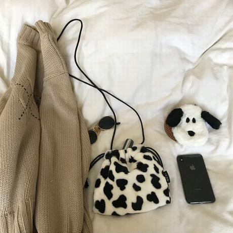 牛柄 ショルダーバッグ ミニバッグ 巾着 バッグ 韓国ファッション レトロ かわいい ガーリー 604070670969