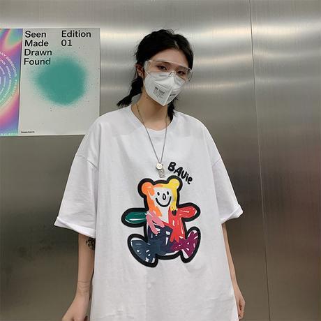 ユニセックス Tシャツ 半袖 メンズ レディース 落書き風 英字 クマちゃん オーバーサイズ 大きいサイズ ルーズ ストリート TBN-616868873223