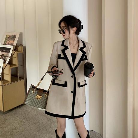 テーラードジャケット ショートコート バイカラー ダブルポケット 韓国ファッション レディース ジャケット シングルブレスト 長袖 ゆったり 大人可愛い ガーリー DTC-626717193383