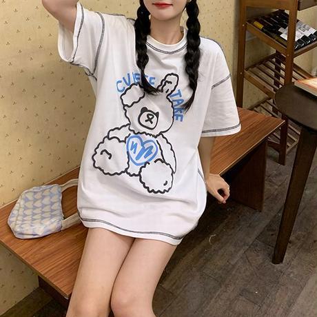 Tシャツ 半袖 クマちゃん ベアー ラウンドネック オーバーサイズ 韓国ファッション レディース 大きめ カジュアル ストリートファッション DTC-643069916522