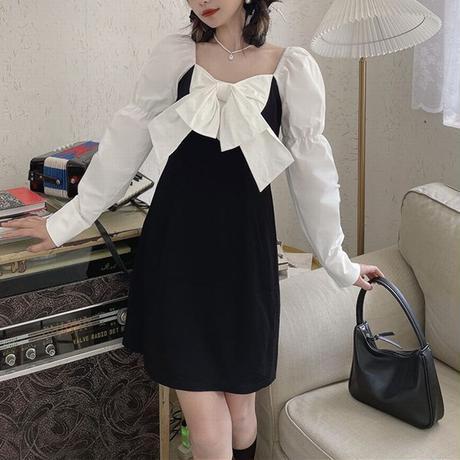 大きなリボン ワンピース 長袖 スクエアネック ハイウエスト 韓国ファッション レディース 大人可愛い ガーリー フェミニン DTC-646984041517