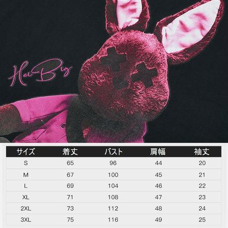 ユニセックス Tシャツ 半袖 ラウンドネック バッドラビット うさぎ プリント オーバーサイズ 韓国ファッション メンズ レディース ストリートファッション DTC-621638638683