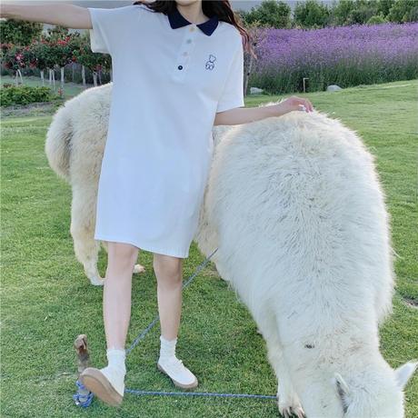 ポロワンピース カラフルボタン 半袖 薄手 ポロシャツ ワンピース 大人カジュアル ガーリー フェミニン DTC-644534604673