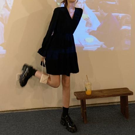 ティアードワンピース Vネック ショート丈 ハイウエスト 長袖 韓国ファッション レディース ミニワンピース 大人可愛い ガーリー フェミニン DTC-652647299876