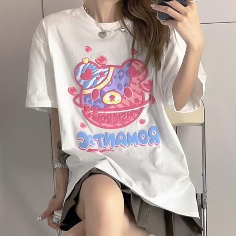 Tシャツ 半袖 クマちゃん ベアー プリント ビックサイズ 韓国ファッション レディース トップ 大きめ オーバーサイズ カジュアル ストリートファッション DTC-645684918459