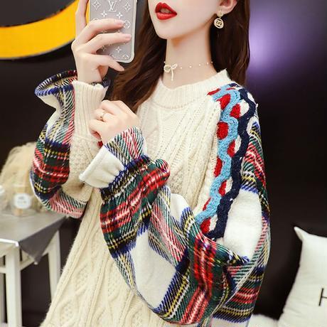 ドッキングトップス フェイクレイヤード ケーブル編み ニット + チェック ネルシャツ 韓国ファッション レディース ラウンドネック 保温 大人カジュアル ガーリー DTC-628217939644