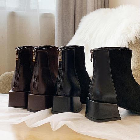 ショートブーツ チャンキーヒール 5cmヒール バックジップ 歩きやすい 履きやすい レディース ブーツ おしゃれ 大人可愛い ガーリー DTC-602513467868