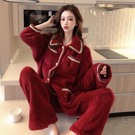 ルームウェア パジャマ セットアップ フリース プラスベルベット トップス + パンツ 長袖 上下セット 韓国ファッション レディース もこもこ ガーリー 633794682654