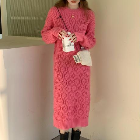 ニットワンピース ラウンドネック ルーズウエスト 韓国ファッション レディース ニット ワンピース ルーズ ロング丈 秋冬 ゆったり 大人可愛い ガーリー DTC-632018355010