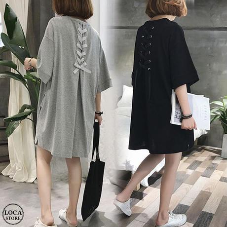 レディース バックリボンロングTシャツ ワンピース ゆったり チュニック マタニティ 韓国ファッション オルチャン (DCT-588425545370)