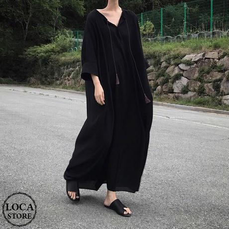レディース Vネック ロングワンピース ブラック  シフォンマキシ丈 シンプル ゆったり マタニティー 韓国ファッション (DCT-588754300745)