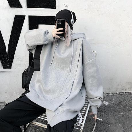 ユニセックス パーカー アシンメトリー 重ねデザイン プラスベルベット オーバーサイズ 韓国ファッション メンズ レディース  カジュアル ストリートファッション DTC-654597946876