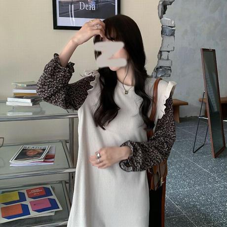ドッキングワンピース フェイクレイヤード ロング丈 花柄袖 韓国ファッション レディース ニットワンピース ハイウエスト 大人可愛い ガーリー DTC-628769274586