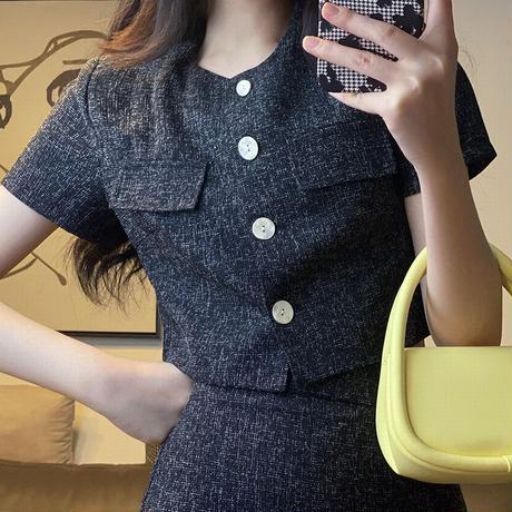 セットアップ クロップシャツ + スカート 韓国ファッション レディース 2点セット 半袖 ミニスカート ハイウエスト 大人可愛い ガーリーDTC-646757085109)