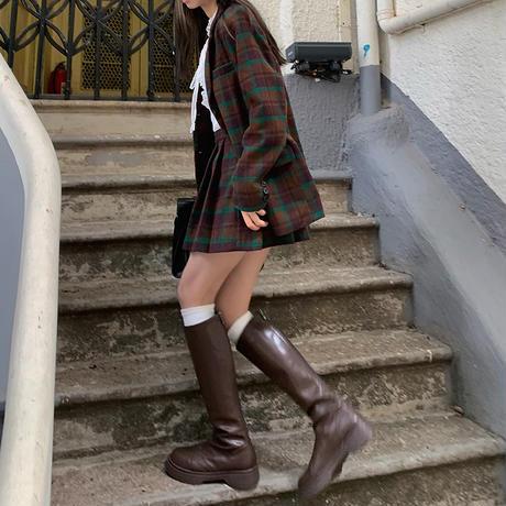 セットアップ チェック柄 ウールジャケット + プリーツスカート ブラウン 韓国ファッション レディース 2点セット ジャケット ハイウエスト 大人可愛い DTC-634600741720_bw