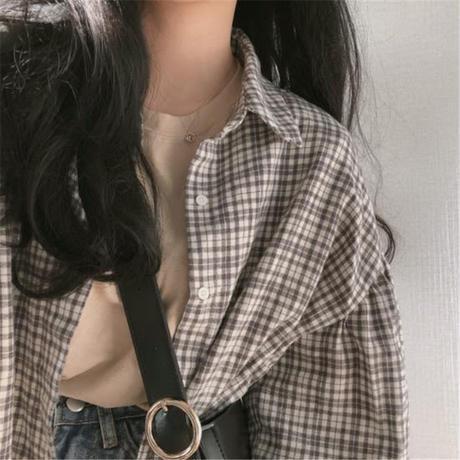チェックシャツ 長袖 ボリューム袖 オーバーサイズ 韓国ファッション レディース チェック柄 ランタンスリーブ ルーズ ゆったり カジュアル 大人可愛い ガーリー DTC-599101274437