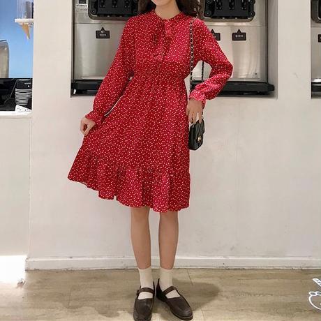 レディース 長袖ワンピース ミモレ丈 ドット柄 ワンピース フレア リボン 韓国ファッション オルチャン (DCT-587243195150)