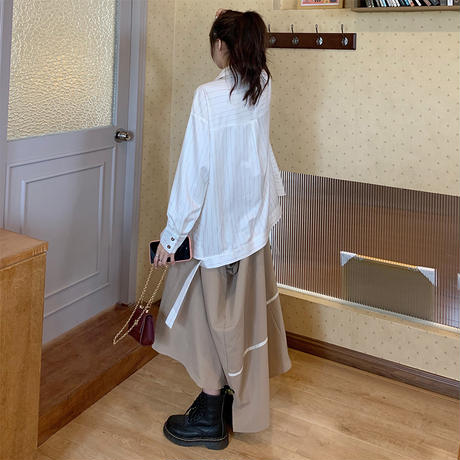 ストライプ柄 シャツ 不規則デザイン 韓国ファッション レディース アシンメトリー 折り襟 長袖 ルーズ 大人可愛い ガーリー フェミニン DTC-627125670760