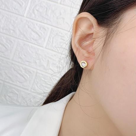 両耳 ピアス メンズ レディース スタッドピアス キャッチ式 CZ 金属アレルギー対応 シルバー ゴールド チタンスチール アクセサリー DTC-582264692299