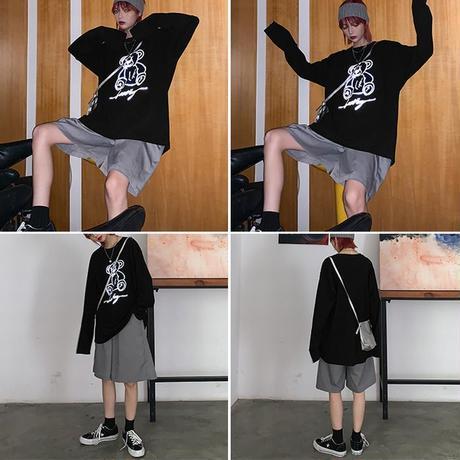 ユニセックス 長袖 Tシャツ 反射 クマプリント 韓国 ファッション メンズ レディース オーバーサイズ 大きめ カジュアル ストリート (DTC-607505640521)