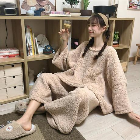 ルームウェア 4カラー  パジャマ セットアップ ラムウール トップス + パンツ 長袖 上下セット 韓国ファッション レディース 厚手 ガーリー 627726861742