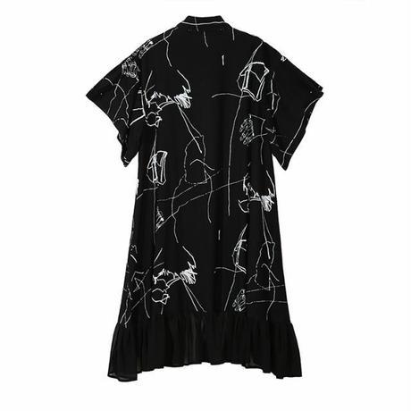 レディース デザインプリント シャツワンピース 個性的ファッション モノトーン フリル アシンメトリー 半袖 韓国ファッション (DCT-574246284487)