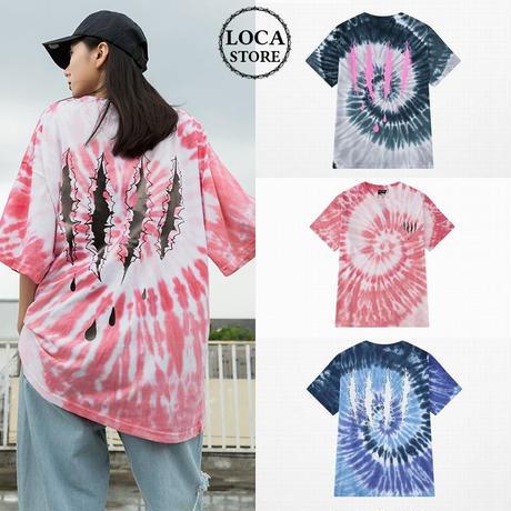 ユニセックス メンズ/レディース タイダイ染め Tシャツ 爪痕 グラディエーション 大きいサイズ ストリート系 韓国ファッション (DCT-596664564892)