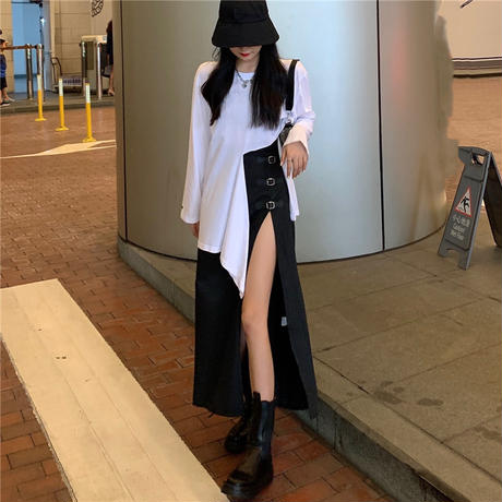 2点セット 不規則 Tシャツ 長袖 + ロングスカート スリット バックル 韓国ファッション レディース セットアップ Tシャツ スカート 大人可愛い ガーリー DTC-626234293153