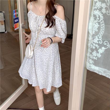 花柄 ワンピース オフショルダー 韓国ファッション レディース シフォン パフ袖 Aライン ハイウエスト (DTC-623352362678)