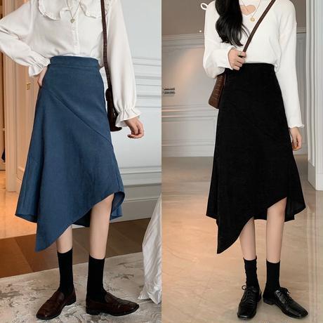 ヘムライン ロングスカート 不規則デザイン アシンメトリー ハイウエスト 韓国ファッション レディース スカート アシメ 大人可愛い ガーリー DTC-624794209402