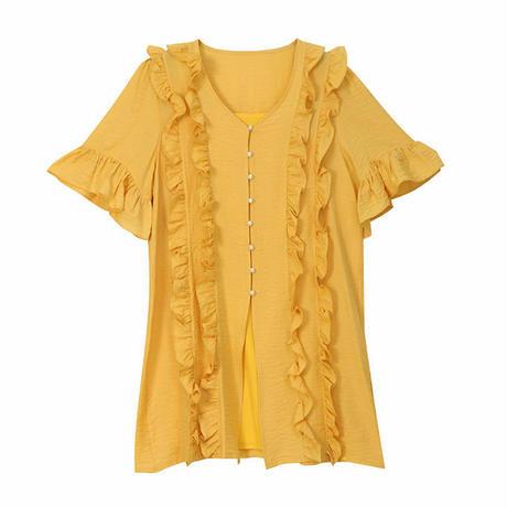 レディース フリル使いデザインシャツ ゆったりトップス ゆるVネック 半袖 5分袖 フェミニン 韓国ファッション (DCT-598800218280)