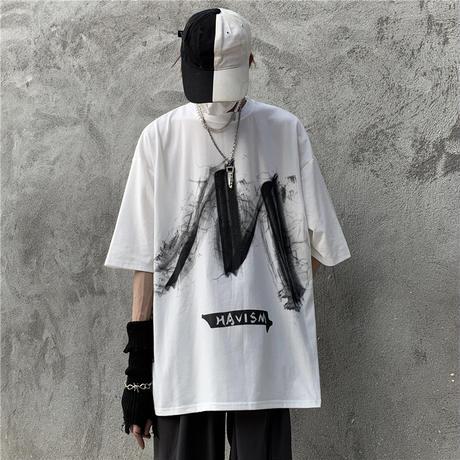 ユニセックス Tシャツ 半袖 メンズ レディース ラウンドネック 落書き風 グラフィティプリント オーバーサイズ 大きいサイズ ルーズ ストリート TBN-617876524078