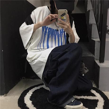 Tシャツ 半袖 メンズ レディース ラウンドネック ユニセックス 英字 スプラッシュインク プリント オーバーサイズ 大きいサイズ ルーズ ストリート TBN-612715984025