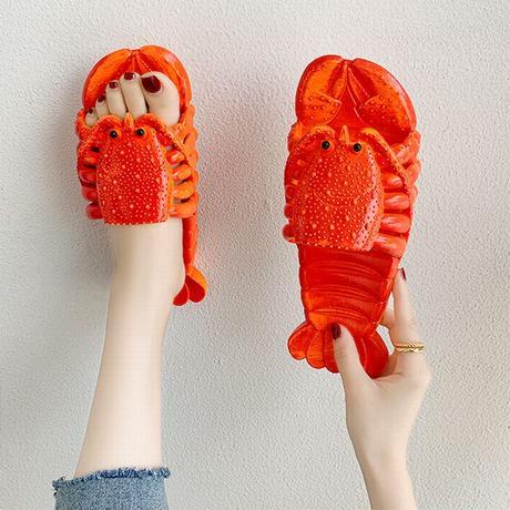 フラットサンダル ロブスター スリッパ ぺたんこ 韓国ファッション レディース サンダル ユニーク キュート 痛くない かわいい 歩きやすい 619410243300