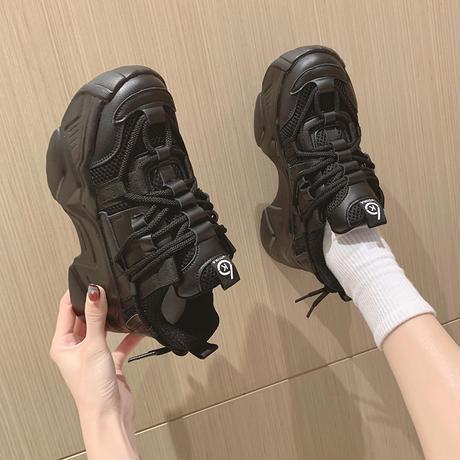 ダットスニーカー シューレース カジュアル 韓国ファッション レディース スニーカー 靴 スポーツ ストリート系DTC-640195980029)